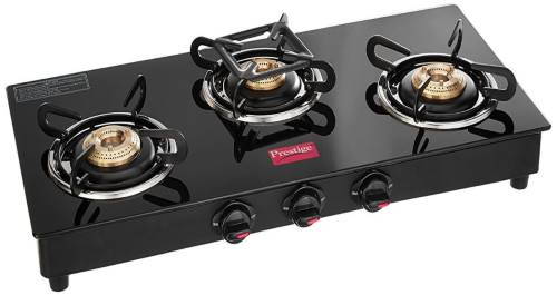 Prestige Marvel Glass Top 3 Burner Gas Stove, Manual Ignition, Black