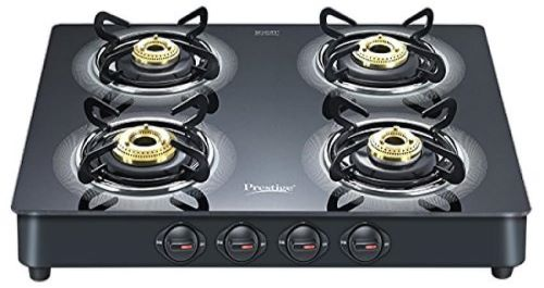 Prestige Royal Plus Schott 4-burner gas stove with glass top